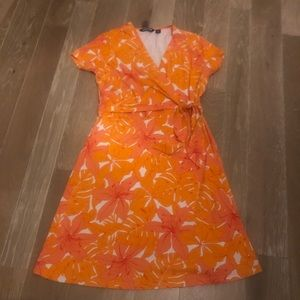 Lands'End Cotton Blend Faux Wrap Dress EUC M